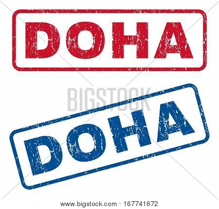 Doha text rubber seal stamp watermarks. Vector style is blue and red ink caption inside rounded rectangular banner. Grunge design and dust texture. Blue and red signs.