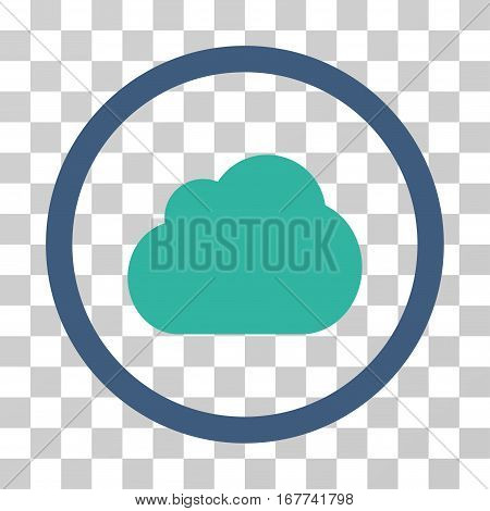 Cloud rounded icon. Vector illustration style is flat iconic bicolor symbol inside a circle, cobalt and cyan colors, transparent background. Designed for web and software interfaces.