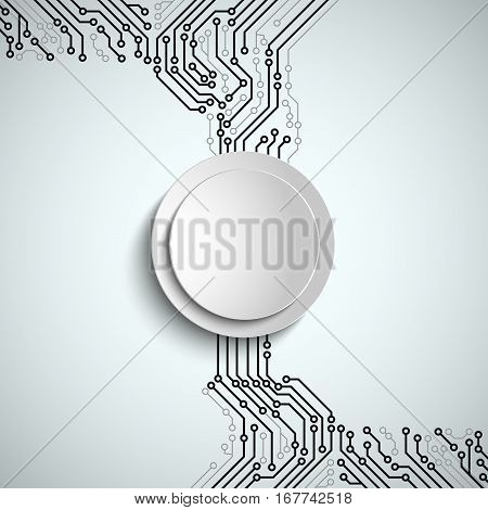 Abstract technical printed circuit board with white round sign vector eps 10