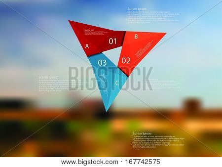 Illustration infographic template with motif of color origami triangle consists of three color folded sections. Blurred photo with natural motif with field and cloudy sky is used as background.