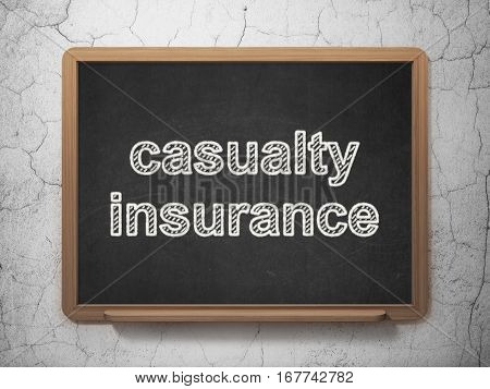 Insurance concept: text Casualty Insurance on Black chalkboard on grunge wall background, 3D rendering