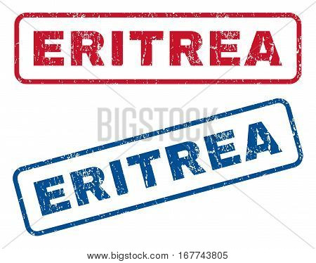Eritrea text rubber seal stamp watermarks. Vector style is blue and red ink caption inside rounded rectangular banner. Grunge design and dust texture. Blue and red stickers.