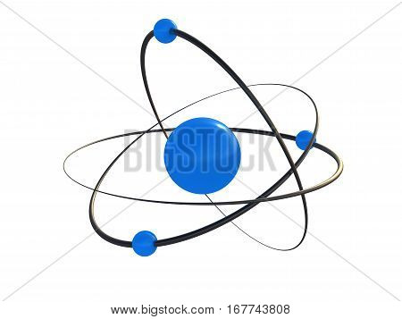 atom 3d atom isolated on a white background