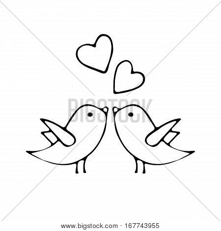 Vector illustration of Happy Valentine's Day card. Hand drawn with Love birds. Love concept. Design element for wedding or Valentines day.