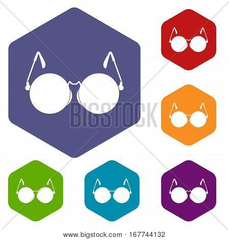 Glasses for blind icons set rhombus in different colors isolated on white background