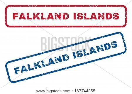 Falkland Islands text rubber seal stamp watermarks. Vector style is blue and red ink tag inside rounded rectangular shape. Grunge design and scratched texture. Blue and red stickers.