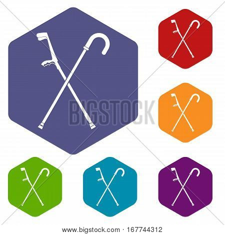 Walking cane icons set rhombus in different colors isolated on white background