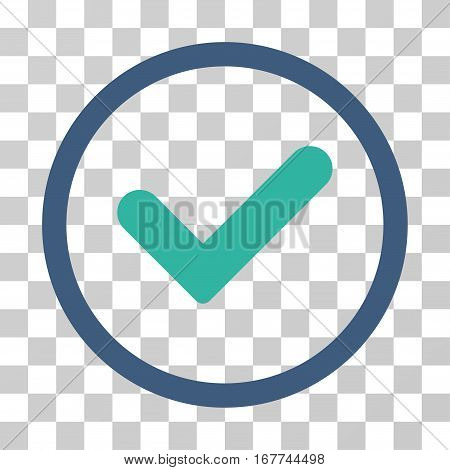 Yes rounded icon. Vector illustration style is flat iconic bicolor symbol inside a circle, cobalt and cyan colors, transparent background. Designed for web and software interfaces.
