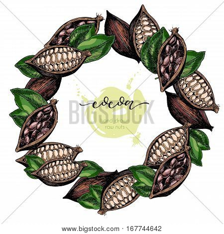 Vector set of hair care ingredients. Organic hand drawn colored elements. Cocoa beans wreath.cosmetic package shop store products spa salon wellness program procedure skin beauty