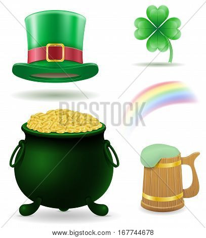 saint patrick's day set icons stock vector illustration isolated on white background