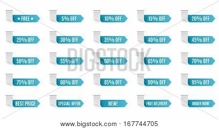 Blue discount label set vector for design. 5 10 15 20 25 30 35 40 45 50 55 60 65 70 75 80 85 90 95 percent.