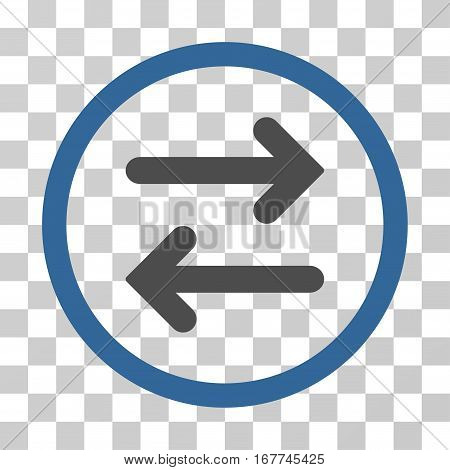 Flip Horizontal rounded icon. Vector illustration style is flat iconic bicolor symbol inside a circle, cobalt and gray colors, transparent background. Designed for web and software interfaces.