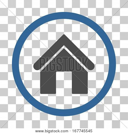 Home rounded icon. Vector illustration style is flat iconic bicolor symbol inside a circle, cobalt and gray colors, transparent background. Designed for web and software interfaces.