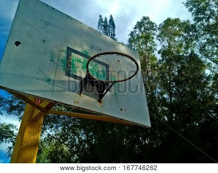 Image of basketball hoop in a sunrise, with trees behind