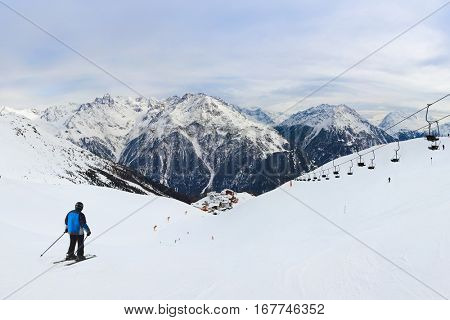 Mountains ski resort Solden Austria - nature and sport background