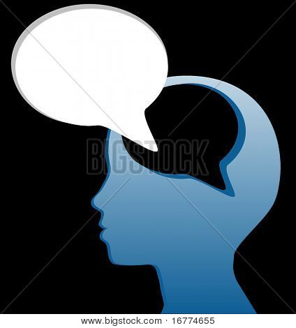 Woman speaks piece of her mind in social media speech bubble cut out of her head