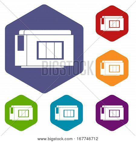 Inkjet printer cartridge icons set rhombus in different colors isolated on white background