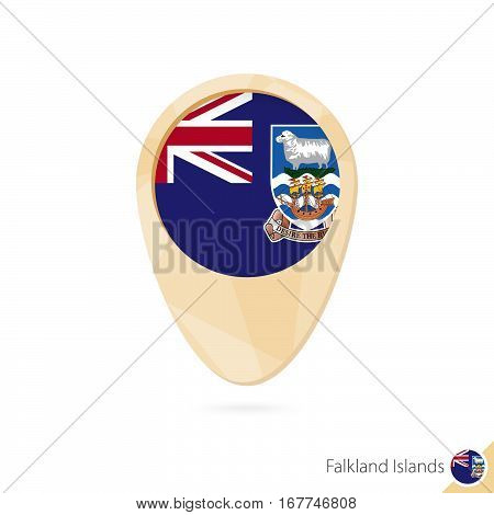 Map Pointer With Flag Of Falkland Islands. Orange Abstract Map Icon.