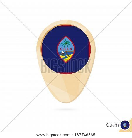 Map Pointer With Flag Of Guam. Orange Abstract Map Icon.