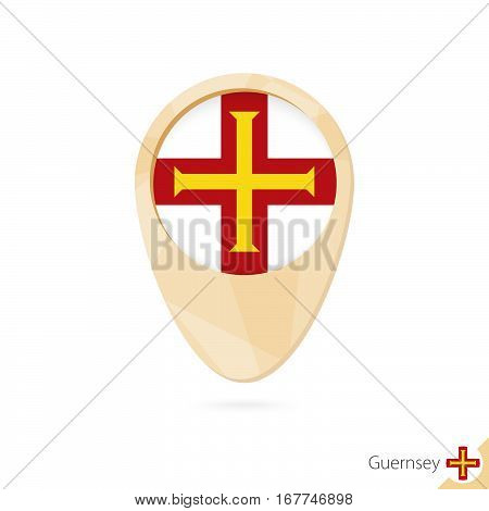 Map Pointer With Flag Of Guernsey. Orange Abstract Map Icon.