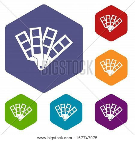 Color palette guide icons set rhombus in different colors isolated on white background