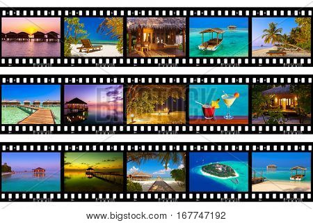 Frames of film - Maldives beach shots (my photos) - nature and travel background