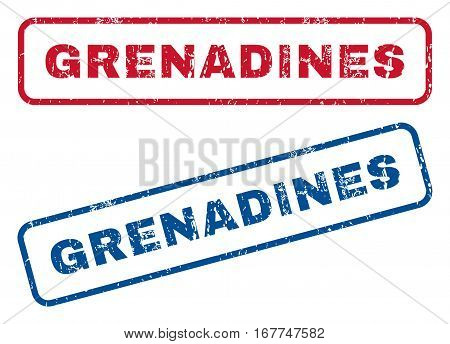 Grenadines text rubber seal stamp watermarks. Vector style is blue and red ink caption inside rounded rectangular banner. Grunge design and unclean texture. Blue and red signs.