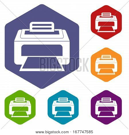 Modern laser printer icons set rhombus in different colors isolated on white background