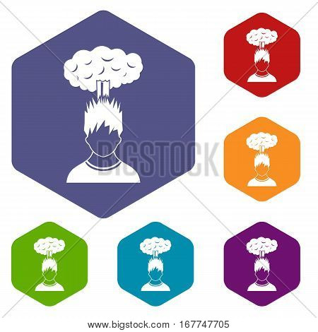 Man with red cloud over head icons set rhombus in different colors isolated on white background
