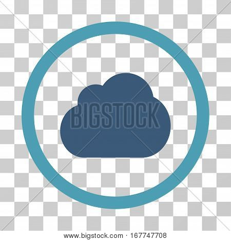 Cloud rounded icon. Vector illustration style is flat iconic bicolor symbol inside a circle, cyan and blue colors, transparent background. Designed for web and software interfaces.