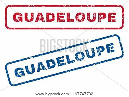 Guadeloupe text rubber seal stamp watermarks. Vector style is blue and red ink tag inside rounded rectangular banner. Grunge design and unclean texture. Blue and red signs.