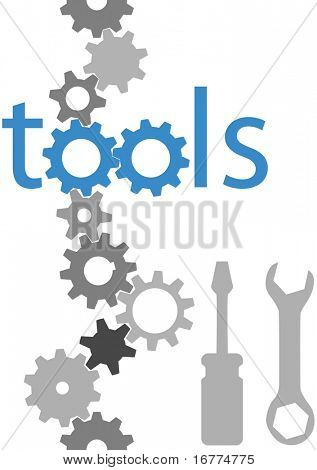 Set of technology tool icons symbols and border gears wrench screwdriver