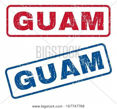 Guam text rubber seal stamp watermarks. Vector style is blue and red ink tag inside rounded rectangular shape. Grunge design and unclean texture. Blue and red signs.