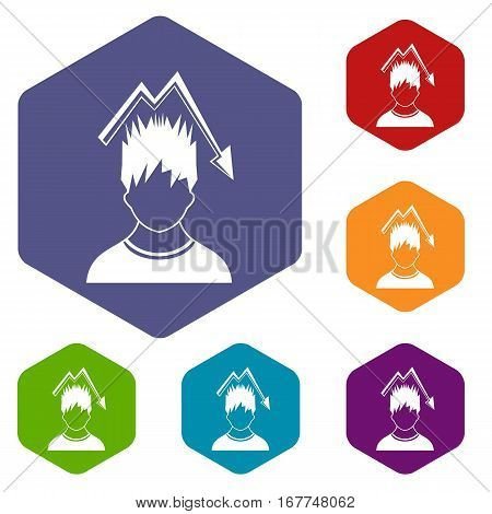 Man with falling red graph over head icons set rhombus in different colors isolated on white background