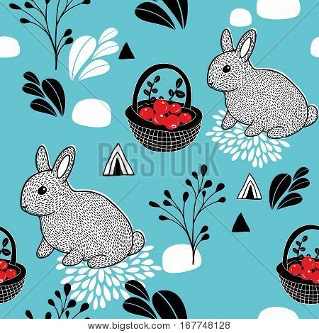 Seamless pattern with animals and forest berries. Vector illustration.