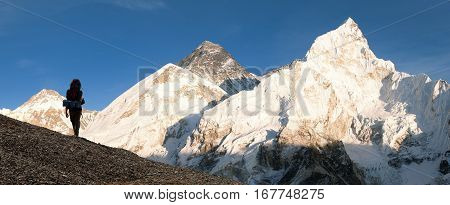 Evening view of Mount Everest with beautiful sky tourist and Khumbu Glacier from Kala Patthar - Khumbu valley Sagarmatha national park Nepal