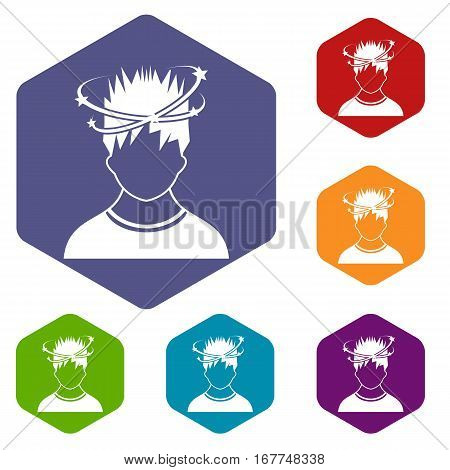 Man with dizziness icons set rhombus in different colors isolated on white background