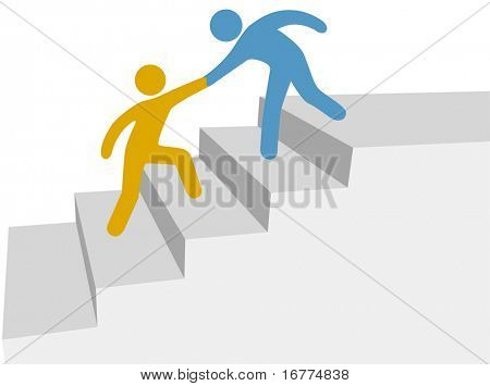 Progress and collaboration as friend helps friend climb up improvement stairway