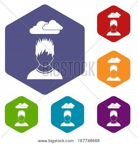 Depressed man with dark cloud over his head icons set rhombus in different colors isolated on white background
