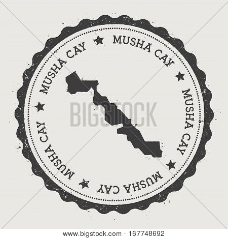 Musha Cay Sticker. Hipster Round Rubber Stamp With Island Map. Vintage Passport Sign With Circular T