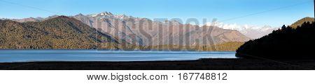 Evening panoramic view of Rara Daha or Mahendra Tal Lake - Rara trek - great himalayan trail - Western Nepal