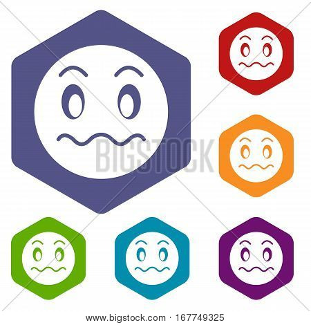 Suspicious emoticon icons set rhombus in different colors isolated on white background