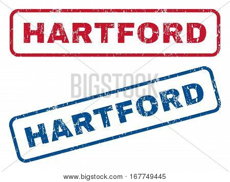 Hartford text rubber seal stamp watermarks. Vector style is blue and red ink tag inside rounded rectangular shape. Grunge design and dust texture. Blue and red emblems.