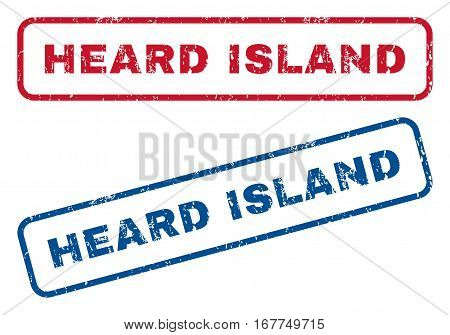Heard Island text rubber seal stamp watermarks. Vector style is blue and red ink caption inside rounded rectangular shape. Grunge design and unclean texture. Blue and red signs.