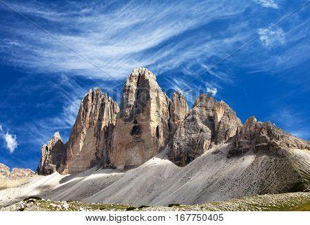 View of Drei Zinnen or Tre Cime di Lavaredo with beautiful cloud on sky Sextener Dolomiten or Dolomiti di Sesto South Tirol Dolomites mountains Italien Alps