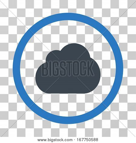 Cloud rounded icon. Vector illustration style is flat iconic bicolor symbol inside a circle, smooth blue colors, transparent background. Designed for web and software interfaces.