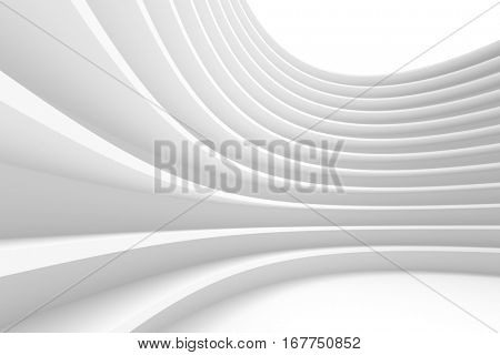 Abstract Architecture Background. White Building Construction. 3d Illustration