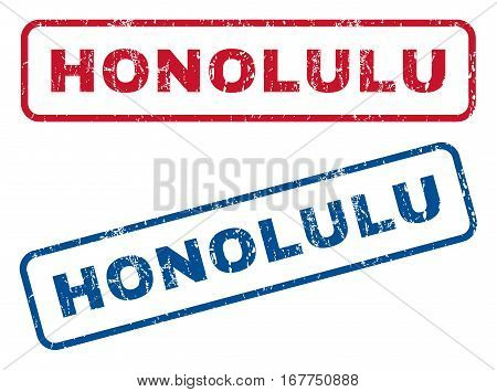 Honolulu text rubber seal stamp watermarks. Vector style is blue and red ink tag inside rounded rectangular banner. Grunge design and dirty texture. Blue and red stickers.