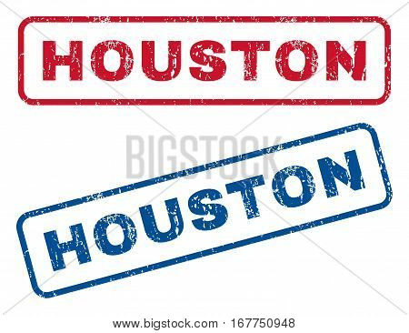Houston text rubber seal stamp watermarks. Vector style is blue and red ink tag inside rounded rectangular banner. Grunge design and dirty texture. Blue and red signs.
