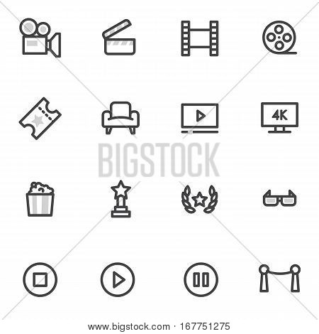 vector icons on the theme of cinema and films on a light background.
